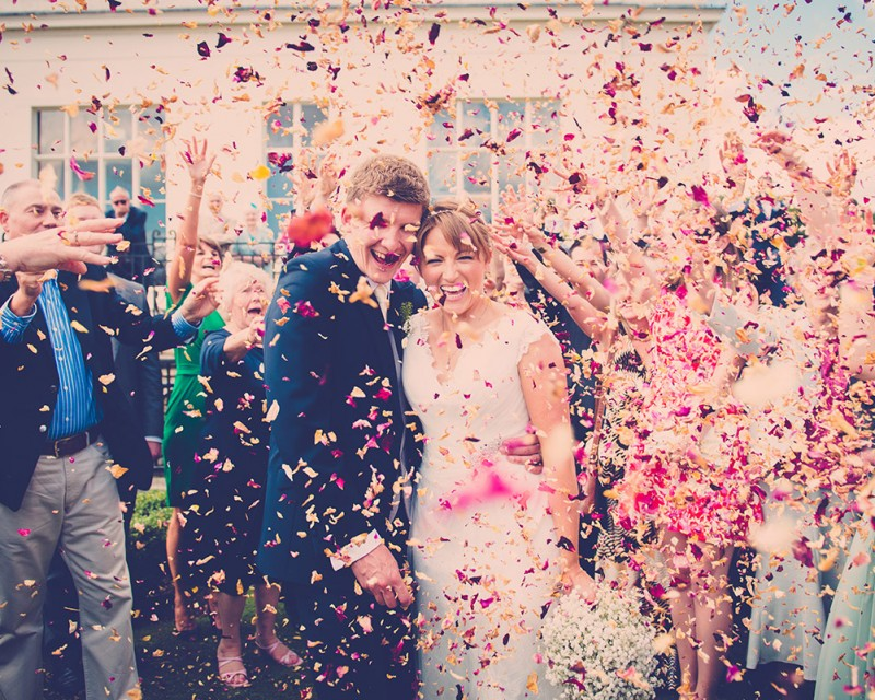 Hylands House wedding photograph of confetti