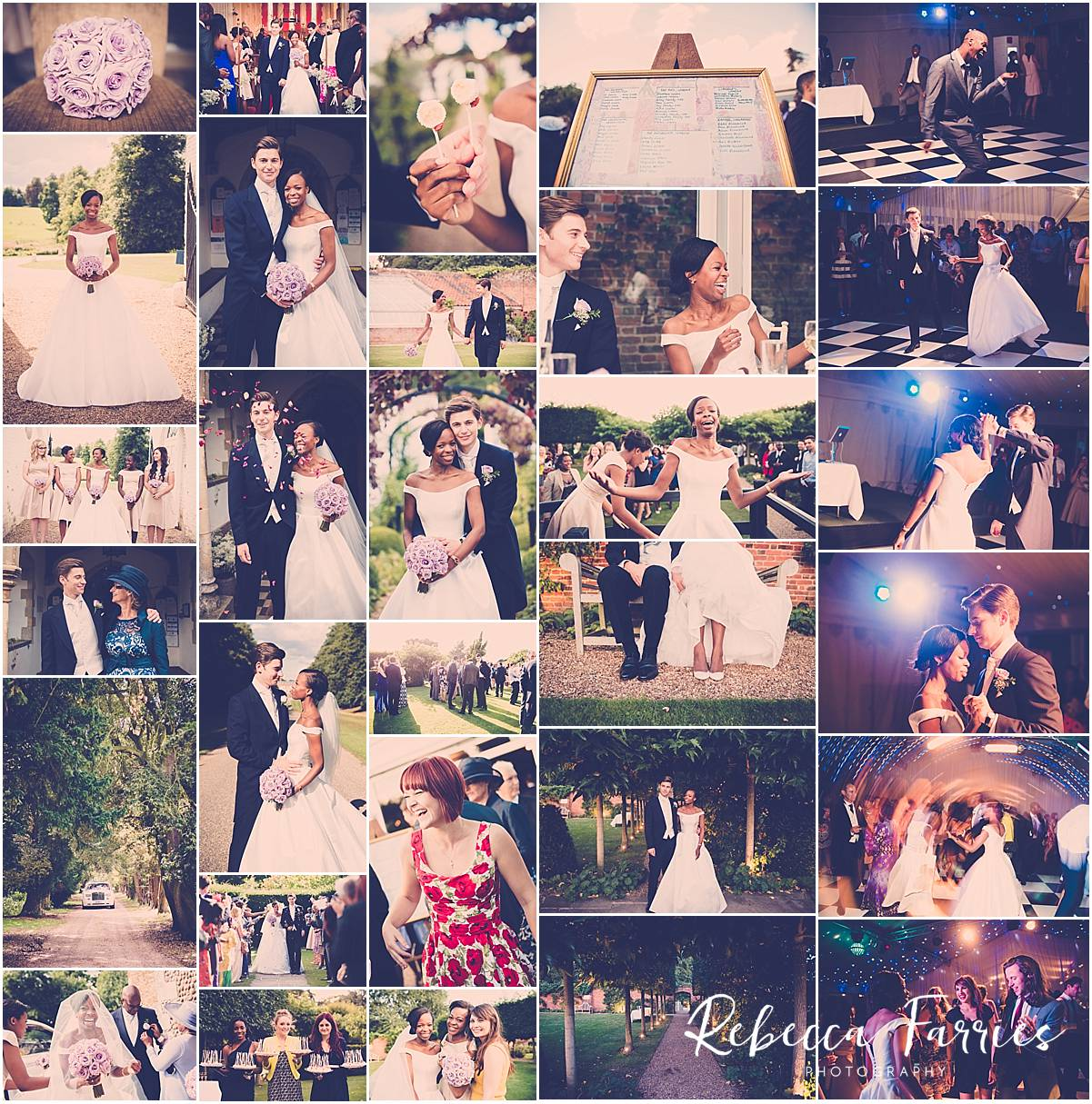 wedding photo collage of braxted park