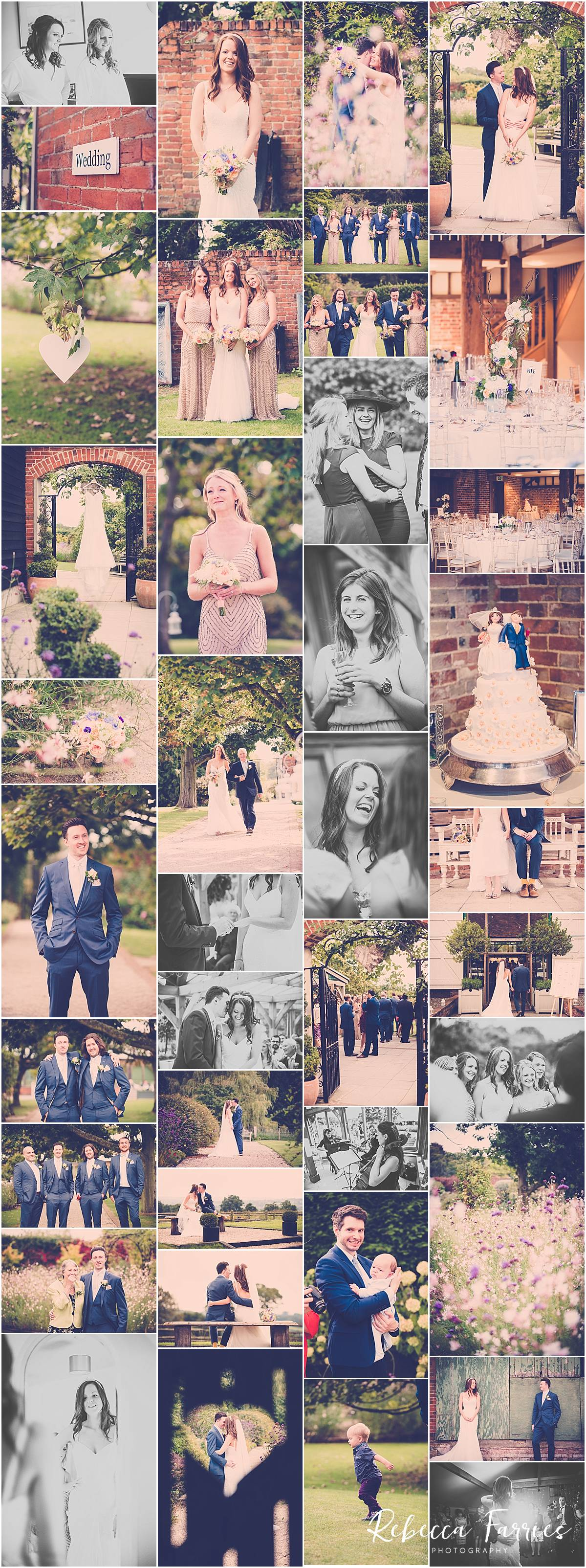 collage of wedding at Gaynes Park