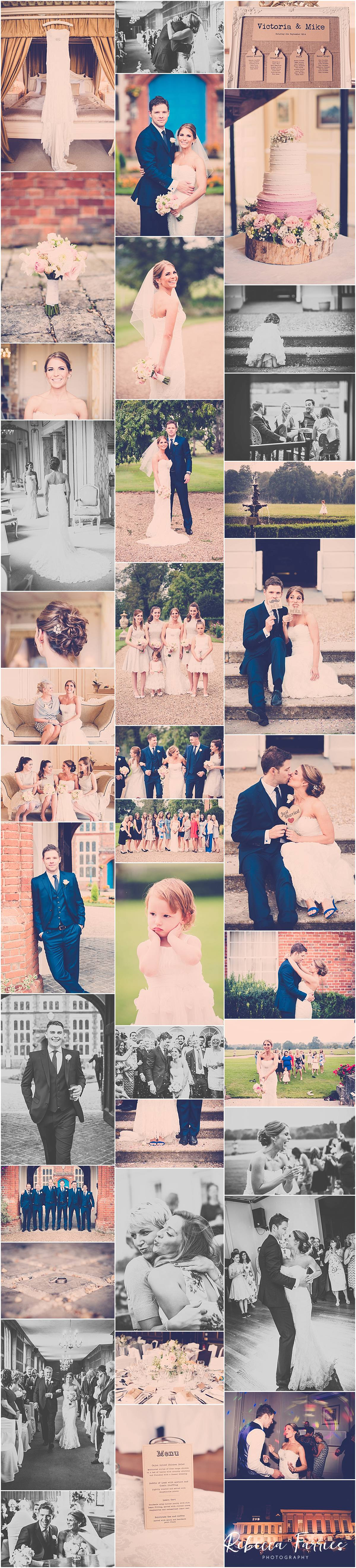 Collage of wedding photographs taken at Gosfield Hall in Essex