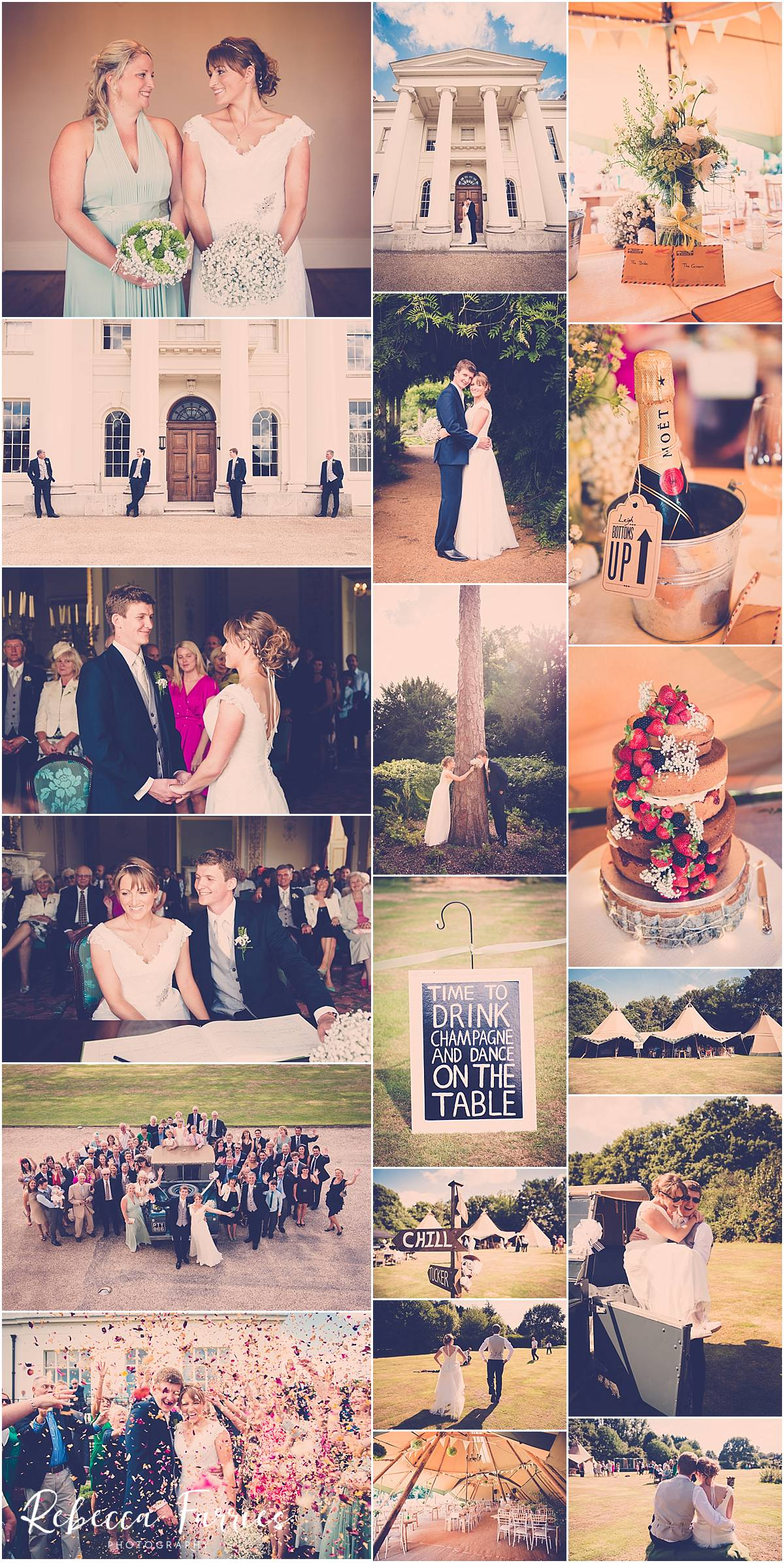Collage of images from a wedding at Hylands House in Essex
