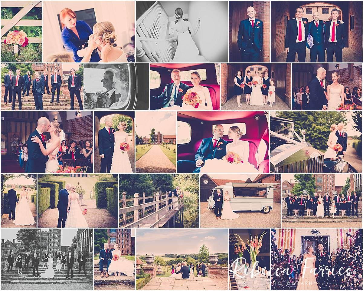 Collage of wedding photographs taken at Layer Marney Tower