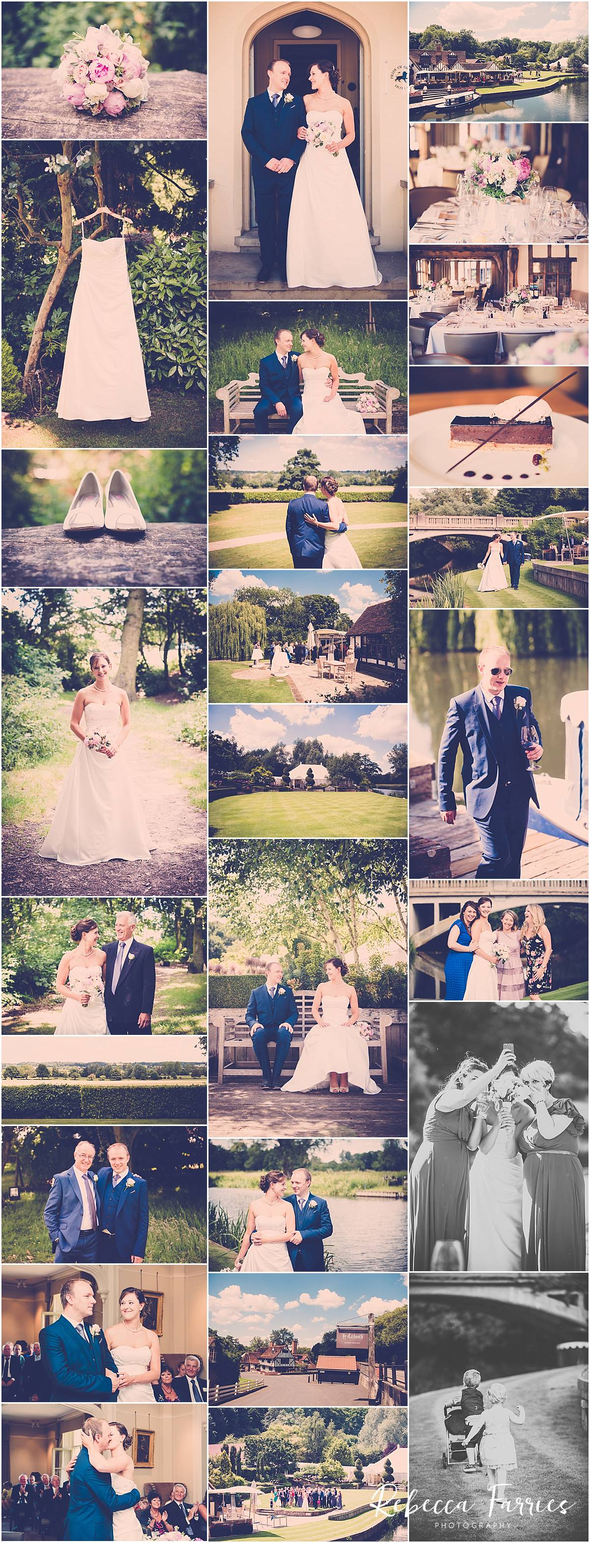 collage of wedding photos taken at Le Talbooth in Essex