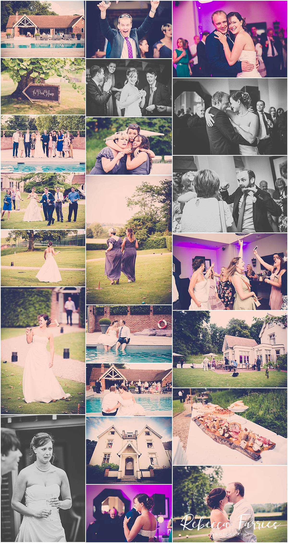 Wedding collage of photographs from Maison Talbooth in Essex
