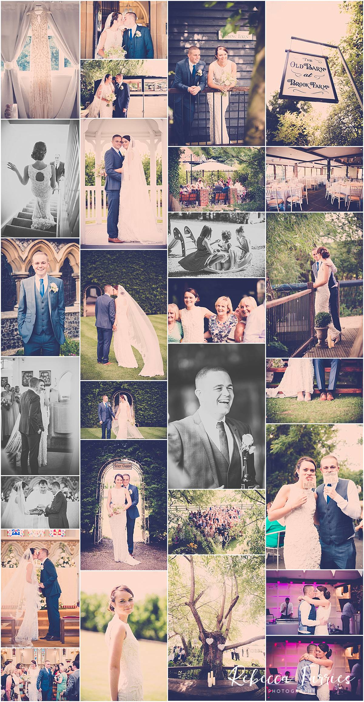 Wedding collage taken at Old Brook Barn in Essex