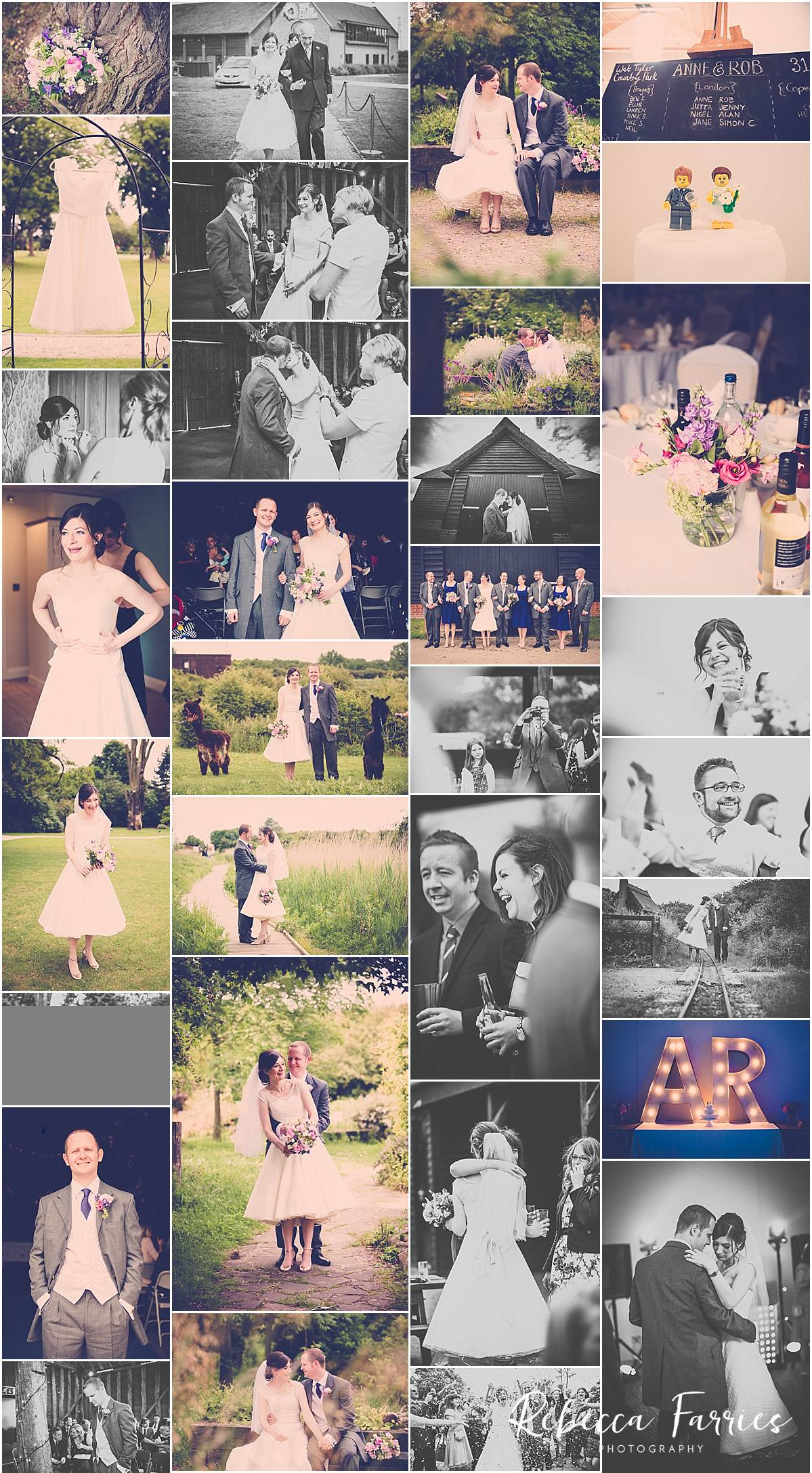 Wedding collage of pictures from Wat Tyler Park in Essex