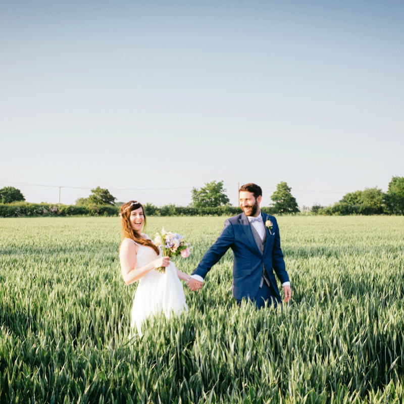 wedding photograph couple in field