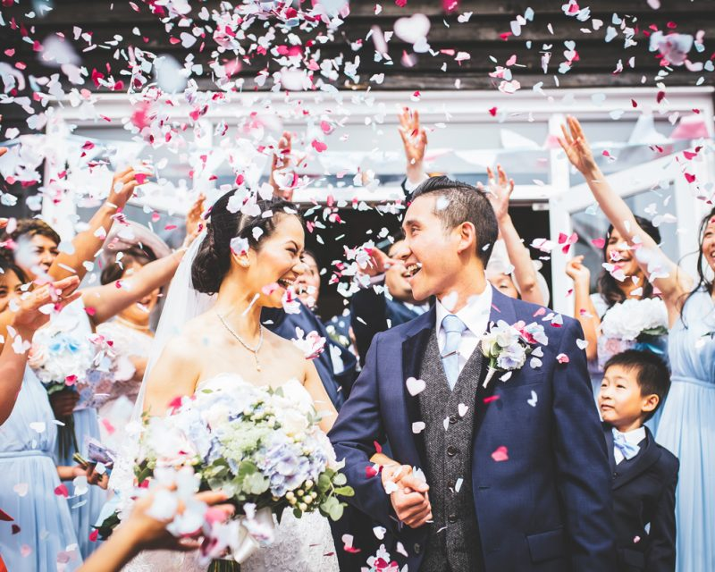 bride and groom confetti at Vaulty Manor
