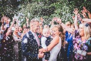Bride and Groom confetti picture at the reid rooms