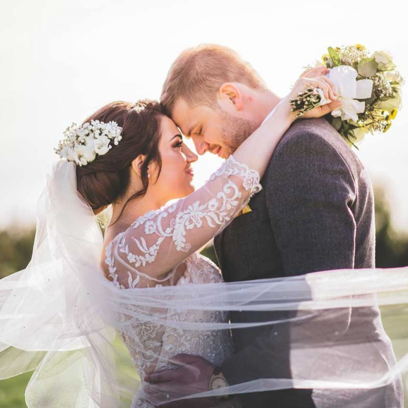 Bride and Groom at Maidens Barn