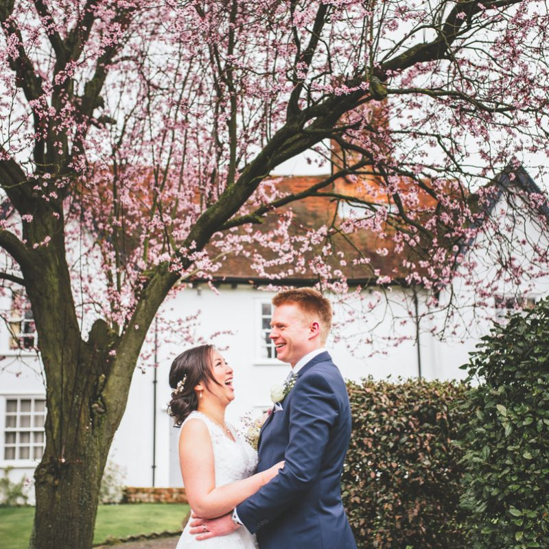 bride and groom spring wedding blossom tree